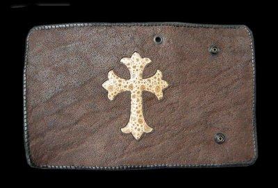 画像1: Frog Traditional Cross Inlay Elephant Long Wallet