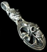 Old Bulldog & Cross Oval On Skull Pendant