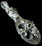 Old Bulldog & Cross Oval On Skull Pendant