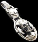 Bulldog & Battle-Ax On Skull Pendant