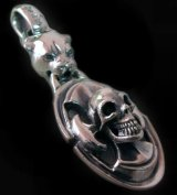 Panther & Battle-Ax On Skull Pendant
