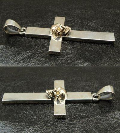 画像5: 10k Skull On Plain Cross Pendant (Small)