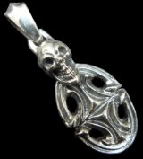 Quarter Skull On Top Sculpted Oval With Classic H.W.O Pendant