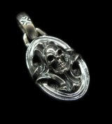 Quarter Sculpted Oval On Skull With H.W.O Pendant