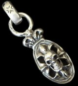 Half Cross Oval On Skull With Crown&H.W.O Pendant