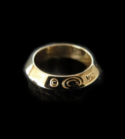 画像1: 10k Gold Quarter Triangle Wire Bangle Ring