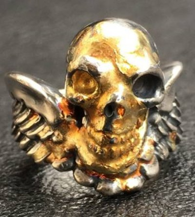 画像2: 18k Gold Blood Face Skull Wing Ring
