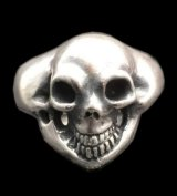 Old Single Skull Solid Silver Ring