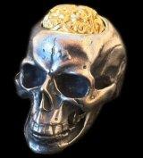 10K Gold Pure Gold Matt Finish Brains Large Skull Full Head Ring