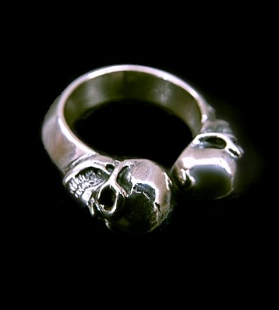 画像1: Quarter Skull With Half Triangle Wire Ring