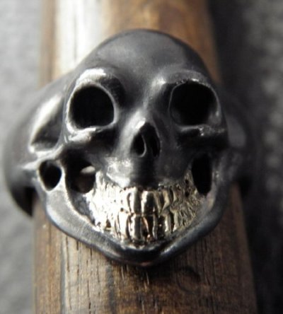 画像2: Black Old Single Skull With 18k Gold Teeth Ring