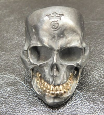画像2: Large Skull With 18k Gold Teeth Ring