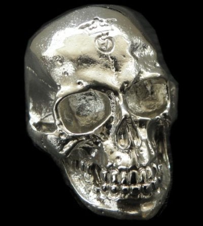 画像1: Large Skull Ring with Jaw Platinum Finish