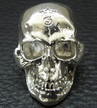 画像2: Large Skull Ring with Jaw Platinum Finish