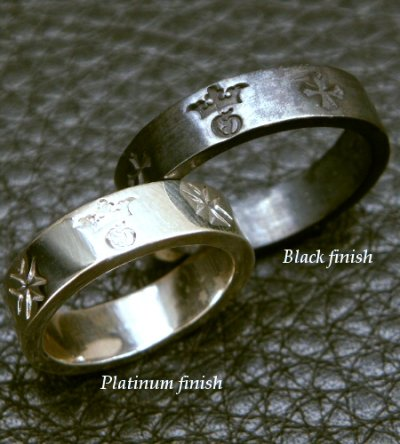 画像2: Flat Bar Ring Platinum Finish