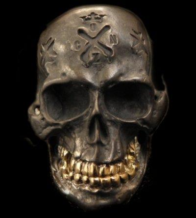 画像1: Xconz Collaboration 18k Gold Teeth Large Skull Ring 2nd generation
