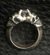 Quarter Size Devil Skull Triangle Wire Bangle Diamond Ring