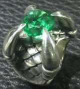 7.9Ct Green Emerald Master Size Iron Claw Ring