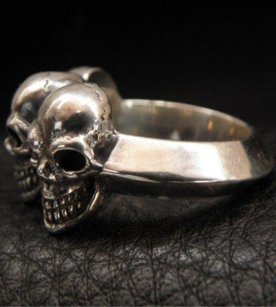 画像2: Half Triple Skull With Half Triangle Wire Ring
