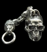 Half Large Skull With H.W.O & Chiseled Anchor Links With Lion Head Wallet Hanger