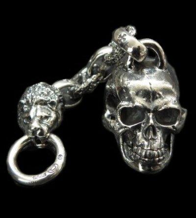 画像1: Half Large Skull With H.W.O & Chiseled Anchor Links With Lion Head Wallet Hanger
