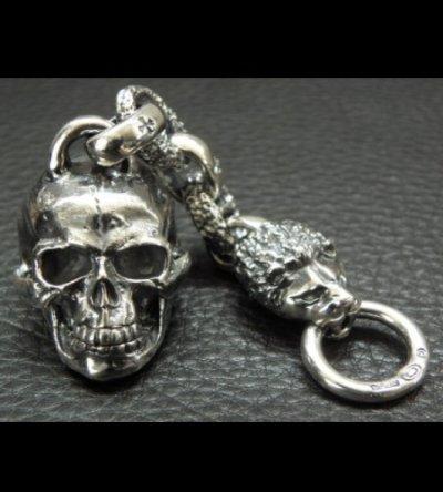 画像2: Half Large Skull With H.W.O & Chiseled Anchor Links With Lion Head Wallet Hanger