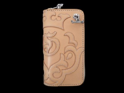 画像1: Atelier Mark Overlay Saddle Leather Round Zip Wallet (Natural)
