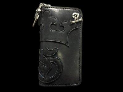 画像1: G&Crown Overlay Saddle Leathe Round Zip Wallet (Black&Blue)