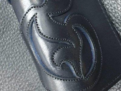 画像2: G&Crown Overlay Saddle Leathe Round Zip Wallet (Black&Blue)