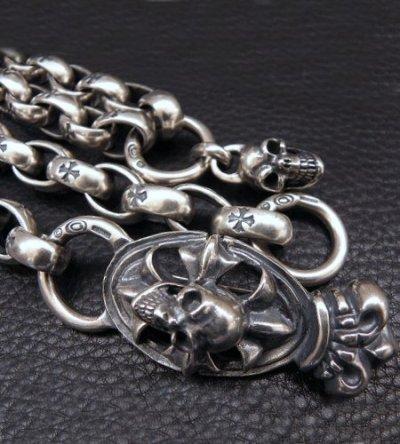 画像2: Skull On Crown Cross Oval Keeper With All H.W.O Links & Single Skull Drop Chain