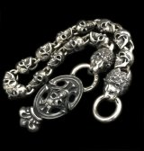 Skull On Crown Sculpted Oval Keeper With 2Lions & 13Skull Links Wallet Chain