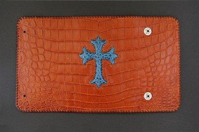 画像3: Frog Cross Inlay Crocodile(Belly) Long Wallet