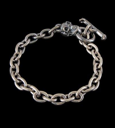 画像1: Quarter Skull Half Chain Bracelet
