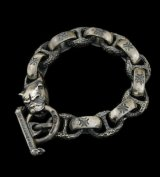 Bulldog With H.W.O & Chiseled Anchor Links Bracelet