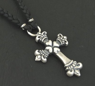 画像4: Quarter 4Heart Crown Cross braid leather necklace