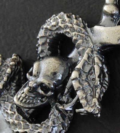 画像5: Half Skull Snake Chiseled Anchor Wallet Hanger