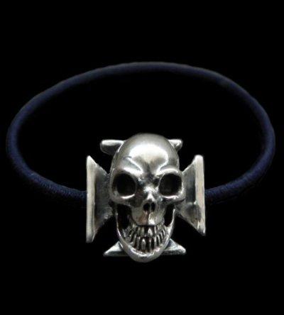 画像1: Skull On Iron Cross Hair Band