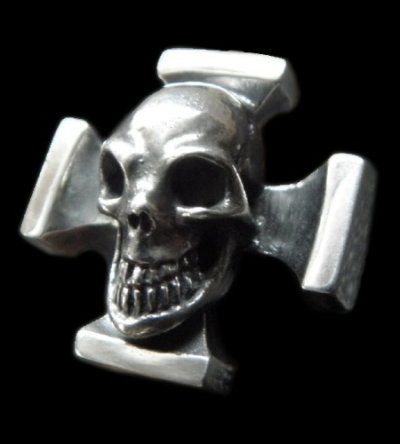 画像1: Skull On Square Hammer Cross Ring