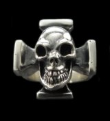 Half Skull On Square Hammer Cross Ring