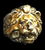 18k Gold Blood Face Old Lion Ring