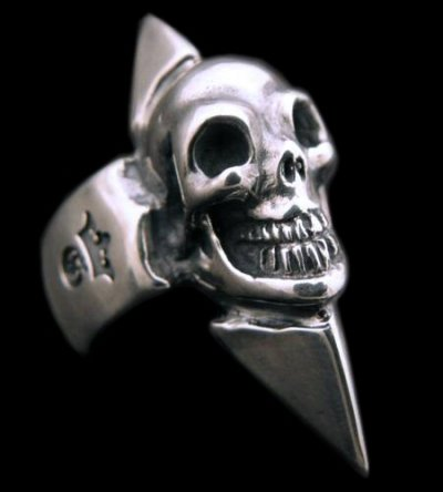 画像1: Skull with Spike Ring (Flat ring)