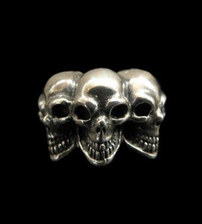 画像1: Half Triple Skull With Half Triangle Wire Ring