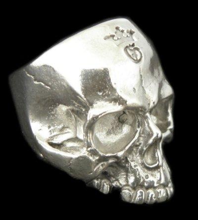 画像1: Large Skull Ring Without Jaw Platinum Finish