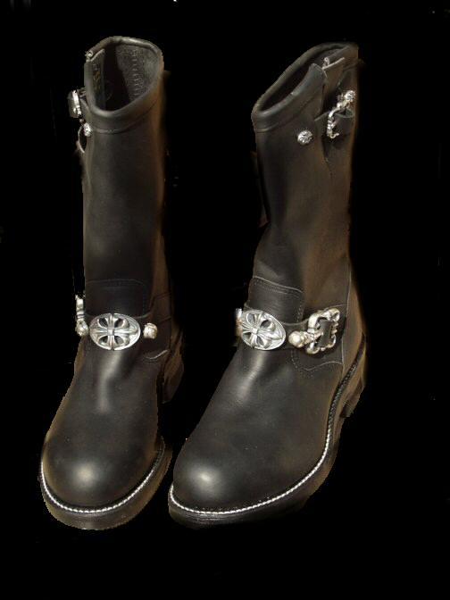 画像1: Long Boots with Cross Oval & 2 Skull