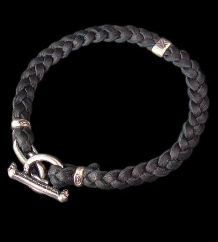 画像1: Quarter H.W.O braid leather bracelet