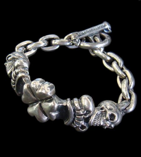 画像1: 2Skull On 4Heart Crown & Chain Links Bracelet