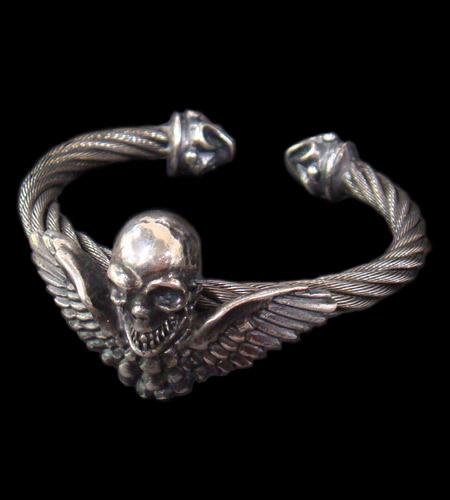 画像1: Wing Skull With Roller Tip Wire Bangle