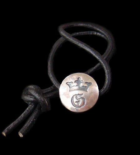 画像1: G&Crown Button Leather Hair Band
