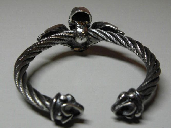 画像5: Wing Skull With Roller Tip Wire Bangle