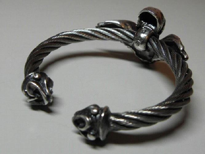 画像4: Wing Skull With Roller Tip Wire Bangle
